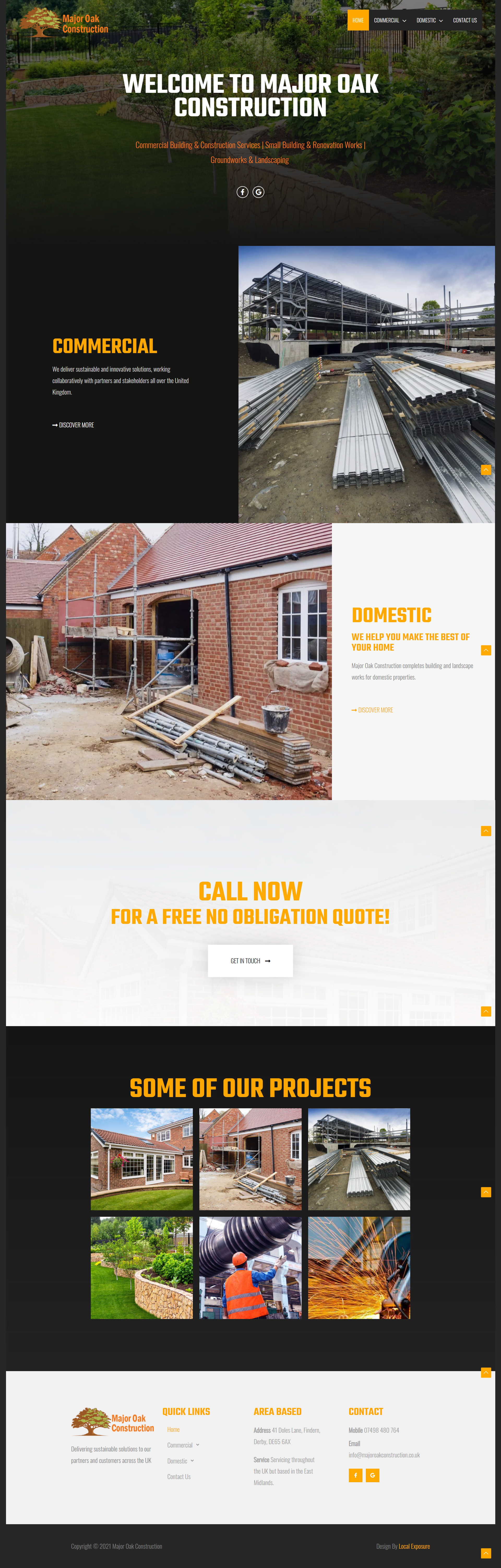 Construction Company Web Design Example
