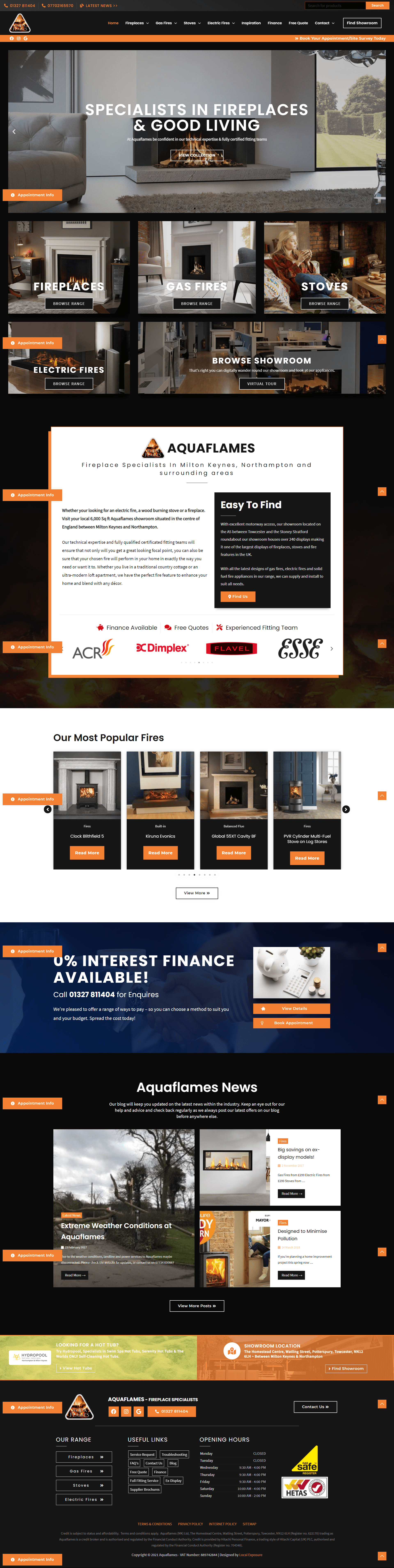 Fireplace Showroom Web Design Example
